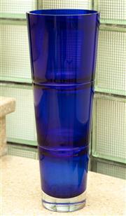 Sale 9066H - Lot 26 - A tall blue conical blue glass vase by Krosno. H 40cm