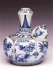 Sale 9081 - Lot 4 - A Possibly c17th Blue and White Kendi with David Jones Art Gallery Label (H: 18cm)