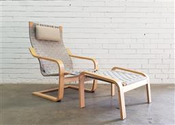 Sale 9108 - Lot 1032 - Bentwood lounge chair and stool by Ikea (h:97 x w:68 x d:75cm)