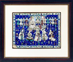 Sale 9130S - Lot 6 - A c,19th Century Persian glazed tile depicting qajar noble attendants with dancers (with cracks) tile size 40cm x 53cm frame size 70...