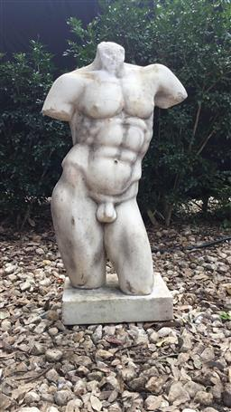 Sale 9175G - Lot 14 - Vintage Carved Marble Torso Sculpture .Consist with 2 Parts (statue and base ).General Wear.Some Chipping ,Has Natural Stone Vein Li...