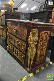 Sale 8386 - Lot 1077 - Egyptian Themed Chest of 3 Drawers