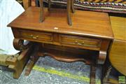 Sale 8390 - Lot 1629 - Carved Asian Fruitwood Console Table w Two Drawers