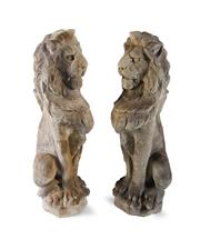 Sale 8422A - Lot 58 - A pair of cast stone seated entrance lions, small chips, height 78cm