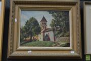 Sale 8495 - Lot 2015 - Raoul Mellish - Eglise St-Leon-Sue-Vezere, 1998 (Romanesque Church) 29 x 39cm