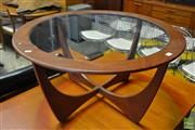 Sale 8528 - Lot 1074 - Round G-Plan Teak Atmos Coffee Table with Glass Top