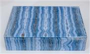 Sale 8800 - Lot 85 - An impressive banded agate hinged box, lined in marble, by Charles de Temple, London, W 21cm