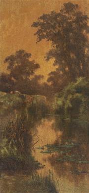 Sale 8583 - Lot 564 - James Alfred Turner (1850 - 1908) - Untitled, 1903 (Cattle in River Landscape) 53 x 25cm