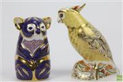 Sale 8635 - Lot 4 - Royal Crown Derby Figures Koala & Citron Cockatoo