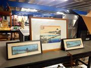 Sale 8671 - Lot 2066 - Group of (3) Japanese Artworks incl. colour woodblock and (2) watercolours (framed, various sizes)