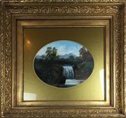 Sale 8730B - Lot 71 - Acrylic Under Glass - New Zealand Bush Scene with Waterfall 30 x 22cm