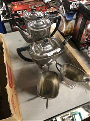 Sale 8789 - Lot 2331 - Art Deco Silver Plate Tea Service of 5 Pieces