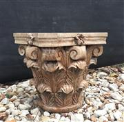 Sale 9015G - Lot 37 - Carved Genuine Stone Column Capital Top .General Wear , slight Chipping ,Natural Stone Crack Line Marks, Previous Repair .Size 35cm H