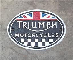 Sale 9112 - Lot 1074 - Reproduction Triumph Motorcycle sign (22 x 15cm)