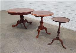 Sale 9129 - Lot 1003 - Collection of three varied timber side tables (h:52 x d:72cm)