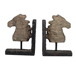 Sale 9140F - Lot 74 - A set of weathered horse head bookends featuring an aged, faux wood finish and industrial black metal stand. Dimensions: W30 x D10 x...