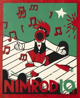 Sale 9157S - Lot 5002 - MARTIN SHARP (1942 - 2013) Nimrod 10 (Nimrod Series) screenprint ed. 30/1000 (unframed) (AF) 102 x 76 cm signed and dated 1982 in ma...