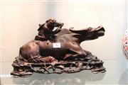 Sale 8308 - Lot 87 - Timber Boy & Cow Figure