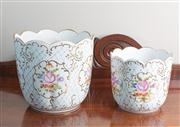 Sale 8470H - Lot 94 - A graduated pair of Hollohaza scalloped jardinieres decorated with flowers, taller 19cm