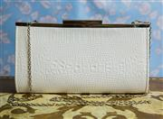 Sale 8577 - Lot 23 - A Collette by Collette Hayman white faux snakeskin clutch/handbag featuring silvertone hardware & carry chain - Condition: Very Go...