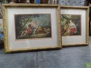 Sale 8561 - Lot 2098 - John Hollyer Hill (2 works) Rococo Courting Scenes chromolithographs, 67 x 80cm, each (frame size), signed lower right -