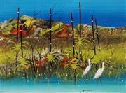 Sale 8656 - Lot 503 - Peter Coad (1947 - ) - Egrets at Noarlangie - Kakadoo, 1989 32.5 x 44cm