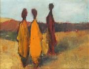 Sale 8773A - Lot 5004 - Hana Juskovic - Three Figures and Seascape 19 x 24.5cm