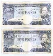 Sale 8972 - Lot 22 - Commonwealth Of Australia Five Pound Notes (2)