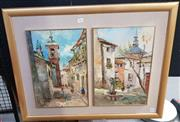 Sale 9028 - Lot 2090 - Eddie. Salo Town Scenes, (Diptych) oil on board, frame: 59 x 78 cm, each signed lower