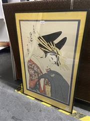 Sale 9061 - Lot 2059 - Japanese Woodblock Print of Geisha (Image Size 33cm x 49cm)