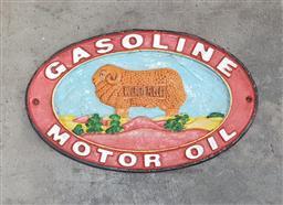 Sale 9108 - Lot 1034 - Reproduction Golden Fleece Motor Oil sign (32 x 20cm)