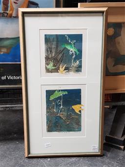 Sale 9127 - Lot 2043 - T Braitling Underwater Garden II monoprint 65 x 36cm (frame) signed lower right -