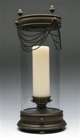 Sale 9138 - Lot 45 - A Large Metal And Glass Hurricane Lantern H:53cm