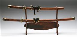 Sale 9156 - Lot 6 - Reproduction Japanese Samurai sword on stand together with a Wakizashi (L:90cm and 70cm)
