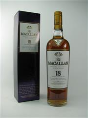 Sale 8329 - Lot 513 - 1x 1997 The Macallan Distillers 18YO Sherry Oak Cask Single Highland Malt Scotch Whisky - 43% ABV, 700ml in box