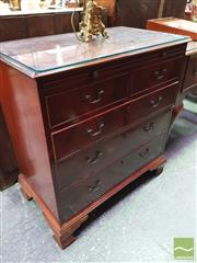 Sale 8444 - Lot 1072 - George III Mahogany Chest of Five Drawers, fitted with a slide & on ogee bracket feet