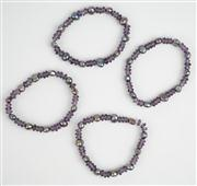 Sale 8477A - Lot 64 - SET OF (4) AMYTHST AND FRESHWATER PEACOCK PEARL BRACELETS: on elastic, diameter 7cm (each)