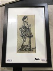 Sale 8690 - Lot 2009A - Artist Unknown Study of Victorian Lady with Parasol ink and pencil, 32 x 23.5cm,