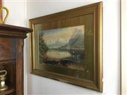 Sale 8730B - Lot 73 - Ernest D Stocks - Watercolour under Glass depicting a Rural Otago Scene 58cm x 37