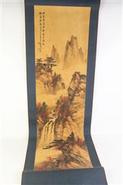 Sale 8802 - Lot 310 - Chinese scroll of mountain and river scene, L; 177cm