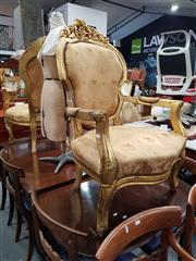 Sale 8826 - Lot 1044 - Pair of Ornate Gilt Framed Armchairs (one a/f)