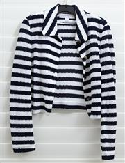 Sale 8902H - Lot 150 - A Diane Von Furstenberg navy and white striped single breasted jacket, size 8