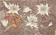Sale 8980A - Lot 5065 - Robyn Mayo - Three Red Dragon Flies, 1992 37.5 x 58 cm (frame: 65 x 85 x x 3 cm)