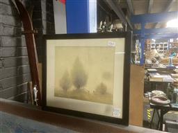 Sale 9111 - Lot 2065 - Gerald George Ansdell The Fence watercolour, 33 x 36cm (frame) signed lower left -