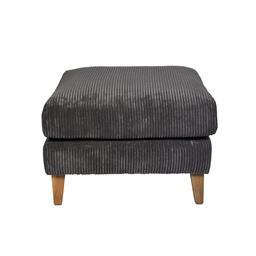 Sale 9140F - Lot 76 - A corduroy ottoman in dark grey with timber legs. Dimensions: W70 x D85 x H48 cm