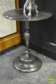 Sale 8284 - Lot 1001 - A Pair of Brushed Metal Bedside Tables or Occasional Tables of round top, raised on turned supports, each height 51cm.