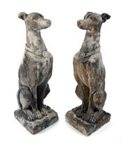 Sale 8422A - Lot 68 - A pair of well weathered cast stone garden figures of greyhounds/whippets, some small chips, height 78cm