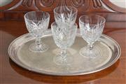 Sale 8470H - Lot 63 - An EP oval engraved tray, together with four cut glass Inwald goblets