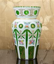 Sale 8703A - Lot 29 - A bohemian green and cased glass baluster vase with floral decoration, H x 30cm