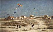 Sale 8713 - Lot 508 - Arthur Evan Read (1911 - 1978) - Flying the kites, Broome 75 x 126.5cm
